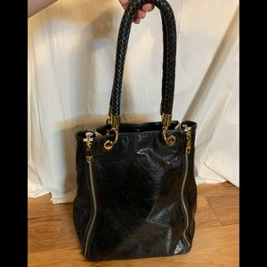 Badgley Mischka 4 zipper expandable leather tote